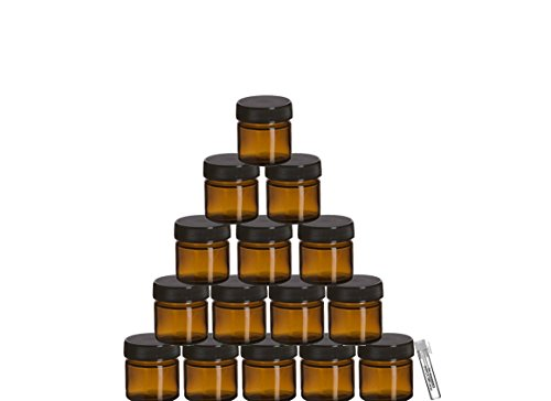 Perfume Studio Small Amber Glass Jar Set with Airtight Black Lids For Cosmetics, Ointments, Salves, Skincare, Storage & More (25 ml - 15 Jars Bulk) with Complimentary Perfume Oil
