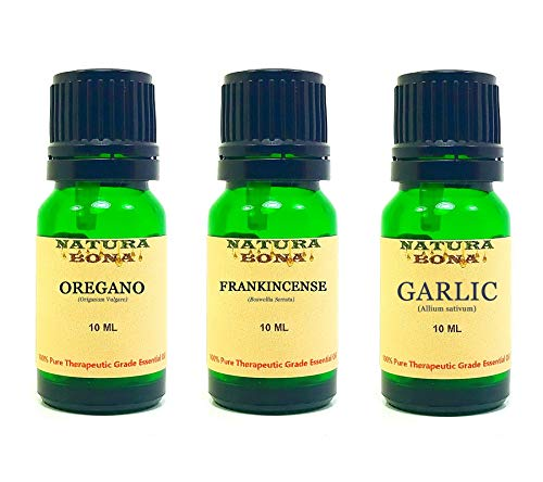 Essential Oil Sets 100% Pure & Therapeutic Grade for Diffusers Body Massage Skin Aromatherapy; 3-Pack EO Kit, 10ml each Euro Glass Droppers (Oregano, Frankincense, Garlic)