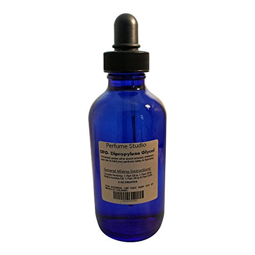 Perfume Dipropylene Glycol (DPG) Diluent Uncented Fragrance Carrier Oil to Stretch or Double Your Perfume Oils (1, 4 Oz Cobalt Dropper Glass Bottle of DPG Diluent Carrier Oil)
