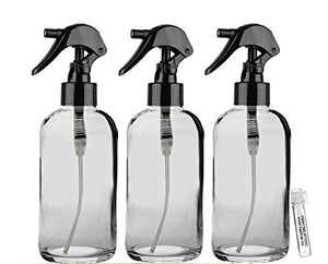 Perfume Studio 4oz Boston Round Clear Glass Spray Bottles with Trigger Sprayers (Pack of 3 Bottles with a Complimentary Perfume Oil Sample)