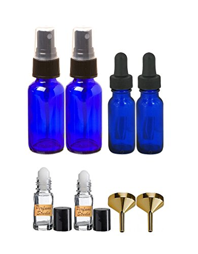 Essential Oil Bottle Set: Includes (2) 1oz Cobalt Spray Bottles, (2) 15ml Cobalt Glass Droppers, (2) Perfume Funnels, and (2) 5ml Clear Glass Roller bottles