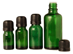 Lot of 6 x 5 ml Green Glass Empty Bottles With Black Tamper Evident Cap For Aromatherapy Container