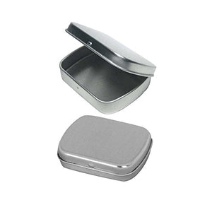 "Rectangular Empty Hinged Tin Box Containers With Choice of Clear or Solid Hinged Top. Use For First Aid Kit, Survival Kits, Storage, Herbs, Pills, Crafts and More. (6, Solid Top: 2.5"" X 2"" X .5"")"