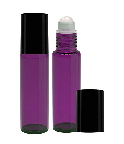 Perfume Studio® Purple Glass Roll Ons, 2 Piece Set with Black Cap .33oz (Plastic Ball, Purple)