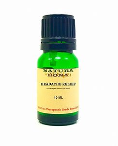 Headache Relief Essential Oil Blend - 100% Pure Organic Therapeutic Synergy in a 10ml UV Protected Green Glass Euro Dropper Bottle. (Headache Relief)
