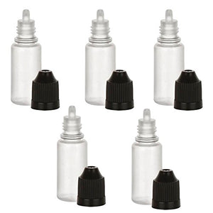 5 Pack Empty Plastic Squeezable Dropper Bottles Tip 10ml Eye Liquid Dropper LDPE