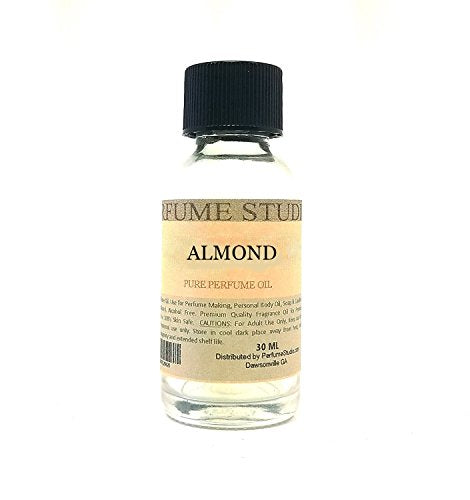 Pure Almond Perfume Oil for Perfume Making, Personal Body Oil, Soap, Candle Making & Incense; Splash-On Clear Glass Bottle. Premium Quality Undiluted & Alcohol Free (1oz, Almond Fragrance Oil)