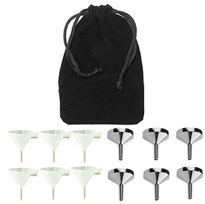 Perfume Studio 12 Pcs Fragrance Funnel Set; 6 Durable BPA Free Plastic & 6 Aluminum small funnels packaged in a Pouch Bag. Ideal for Essential Oils & Perfume Making.