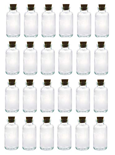Apothecary Essential Oil Bulk Glass Bottles with Cork; 6oz Liquid Capacity. Clear, Thick Glass Essential Oil Bottle with Complimentary Perfume Oil Sample (24, Apothecary Corked Glass Bottle)