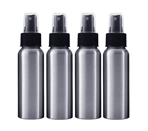 Aluminum Bottles for Essential Oils; 2.7 oz 4-Pack with Different Choice of Tops & Free Perfume Studio Sample Fragrance. (Black Fine Mist Sorayer)