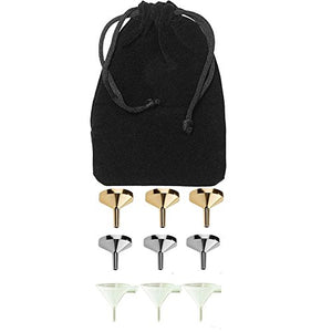 Perfume Studio 9 Pack Fragrance Funnel Set; 3 Durable BPA Free Plastic, 3 Aluminum Gold &3 Aluminum Silver Color small funnels packaged in a Pouch Bag. Ideal Sizes for Essential Oils & Perfume Making