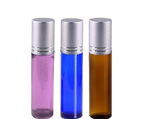 10ml Roller Bottle Set with Silver Caps for Essential Oil, Aromatherapy, Perfume, Health and Wellness (3 Glass Roll On Bottles with Metal Ball Roller; Purple, Blue and Amber Color)