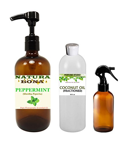 Organic Peppermint Essential Oil Kit: One 16oz Pump of Pure Peppermint Oil, One 16oz Bottle of Pure Fractionated Coconut Carrier Oil, One Empty 4oz Amber Glass Trigger Sprayer Bottle