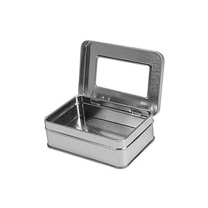 "Rectangular Hinged Tin Box Containers with Clear Hinged Top. Use For First Aid Kit, Survival Kits, Storage, Herbs, Pills, Crafts and More. (6, Clear Top: 4.12"" X 2.75"" X 1.38"")"