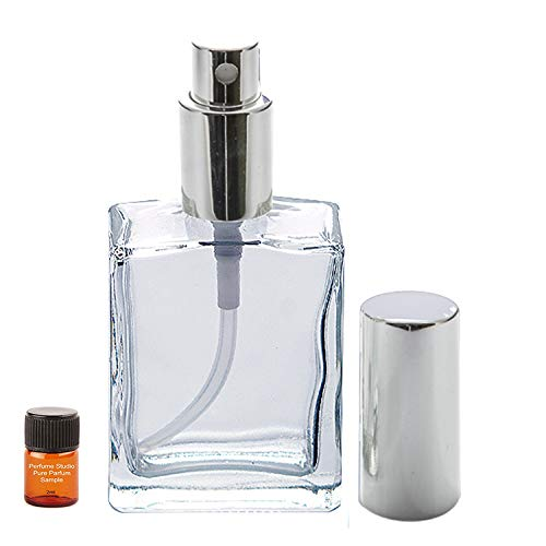 Perfume Studio Top Quality Perfume Spray Empty Refillable Glass Bottle with Silver Sprayer with a Free 2ml Pure Perfume Oil Sample (Clear Glass Silver Sprayer - 1 PC, 2oz)
