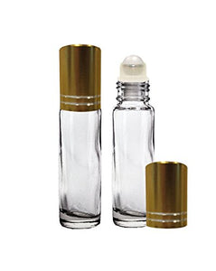 Perfume Studio® 10ml Glass Roller Bottles with Gold Caps for Essential Oils; 2 Piece Set (Plastic Ball, Clear)