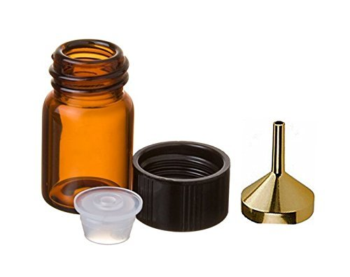 Perfume Studio0153; Small Essential Oil Bottles with Orifice Reducer and Airtignt Cap: Amber Glass (6 PCS - 2 ml (5/8 dram), and a Metal Perfume Funnel