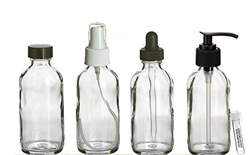 Perfume Studio 4oz Essential Oil Clear Glass Bottles - Pack of 4 Boston Round Glass Bottles; Pump, Dropper, Spray, and Cap - Complimentary Essential Oil/Perfume Sample Vial (Clear Glass)