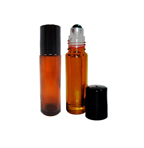 Metal Ball Roll On Bottles Amber Glass for Essential Oils, Body Oils and Aromatherapy Oils (3)