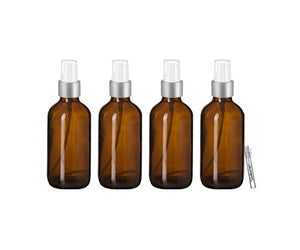 Perfume Studio 4 oz Amber Glass Spray Empty Bottles with Silver Sprayer and Our Body Oil Sample Vial. Use for Essential DIY Oils, Fragrances, Room Sprays, Cleaning Solutions, Hair Spray.