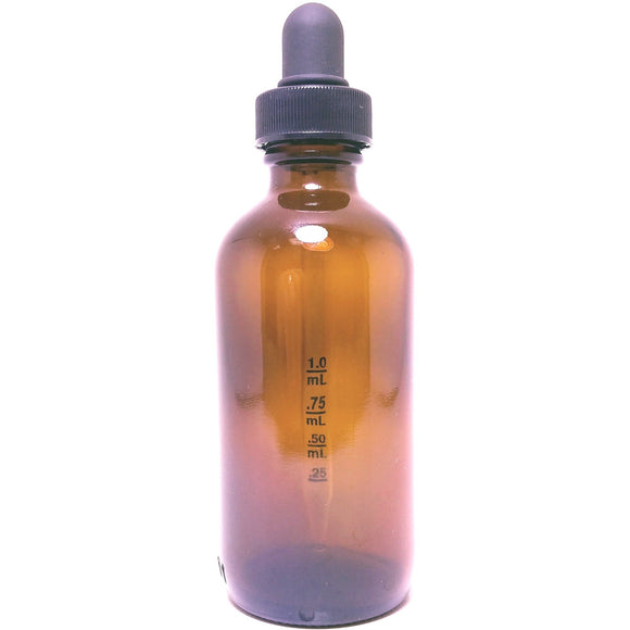 Amber Glass Dropper Bottles with Calibrated 1cc Pipette and Travel Cap; Bulk 128 pcs