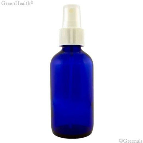 Boston Round Blue Glass Cobalt Bottle with White Sprayer, 4 oz Unit