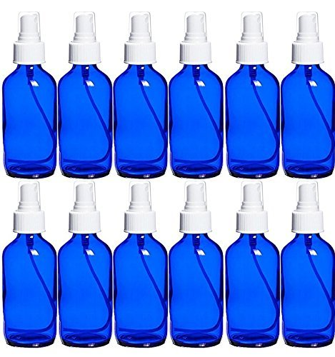 Perfume Studio 4 Oz Blue Cobalt Glass with White Spray Bottles/Perfume Oil Sample (Pack of 12)