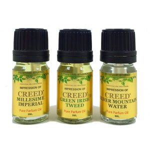 Perfume Studio oil IMPRESSION of Creed* Perfume: 3 Piece Bundle of Silver Mountain Water, Millesime Imperial & Green Irish Tweed, 5ml Euro Dropper/Dabber Bottle
