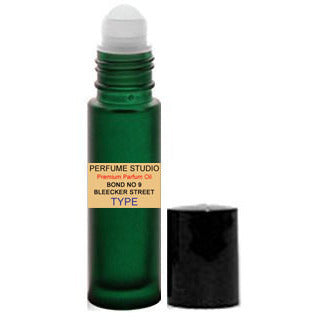 Perfume Oil with Similar Base Notes of Bleecker Street for Men in a 10 ML Frosted Green Glass Rollerball