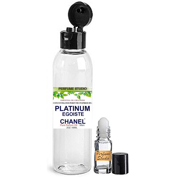 Wholesale Perfume Oil Inspired by Chaninel Egoistie Platinum* Cologne for Men, 2oz Plastic Bottle and 5ml Roll-on