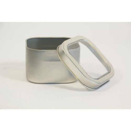Tea Square Silver Can w/window - up to 3 oz capacity