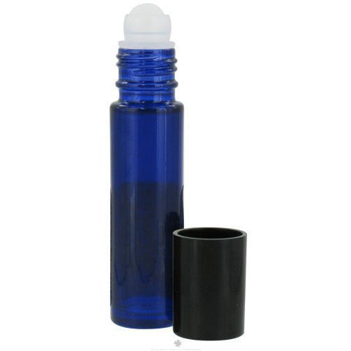 Sanctum Aromatherapy - Cobalt Blue Glass Bottle with Roll On Applicator and B...