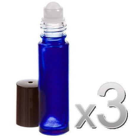 Perfume Studio Roller Bottle Set of 1 Perfume Funnel & 3 Glass Cobalt Roll On...