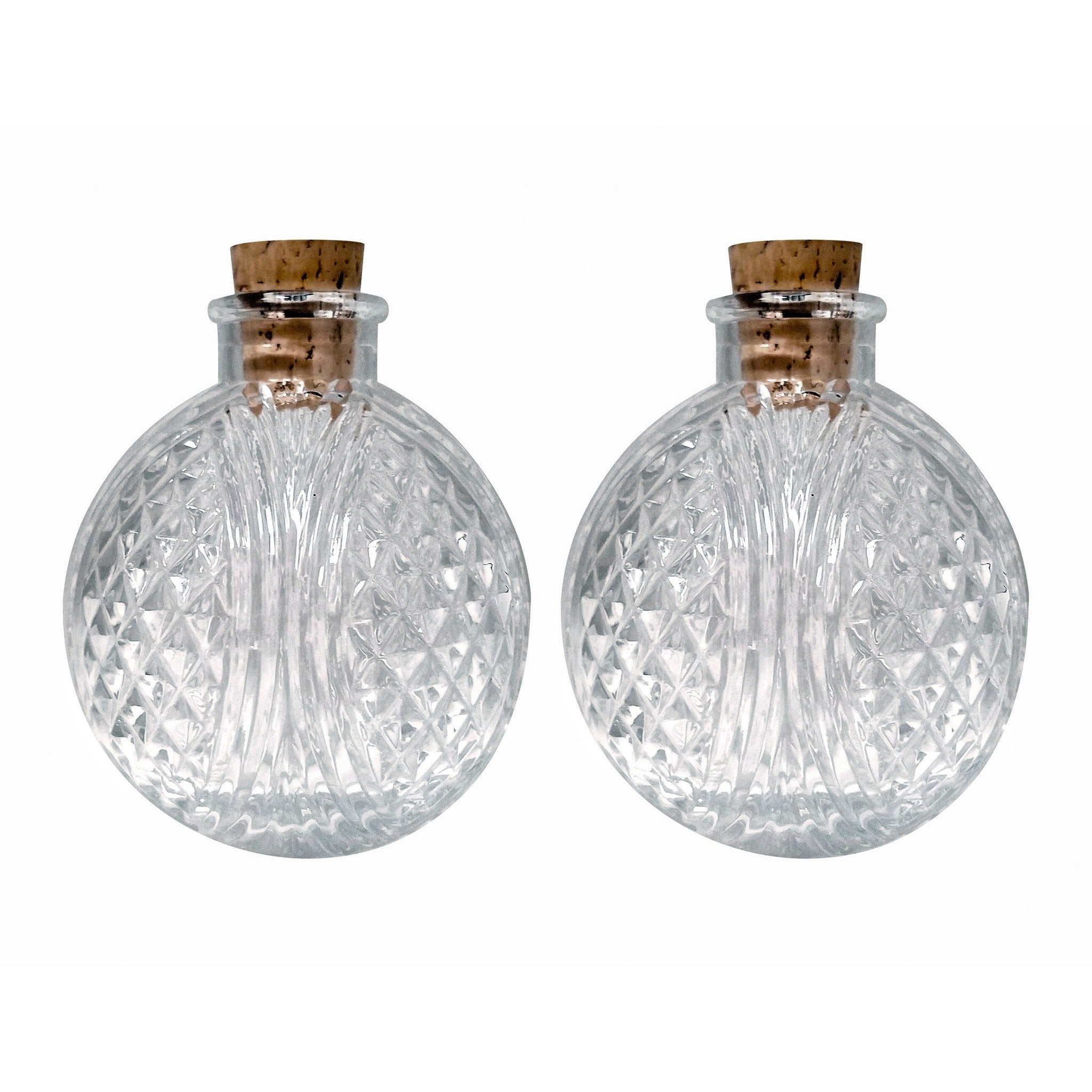 6oz Round Glass Bottle With Cork Set Of Two Round Clear Cut Glass