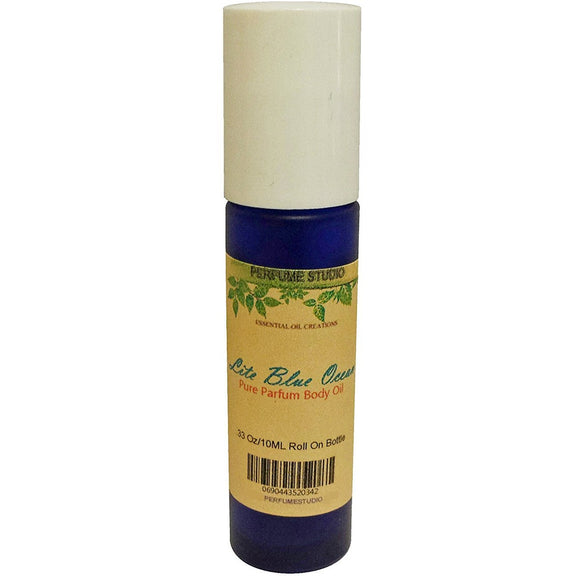Lite Blue Ocean Perfume Oil in a 10 ML UV Light Resistant Cobalt Blue Glass Roll On Bottle with White Caps – Ideal Rollerball Perfume for Travel