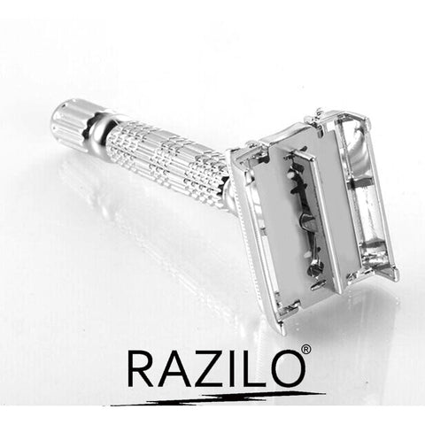 Heavy Duty Double Edge Chrome Safety Butterfly Razor for Men By Razilo®; Includes Mirrored Travel Case & 6 Platinum Coated Stainless Steel Double Edge Blades for Prolonged Use and a Smoother Shave