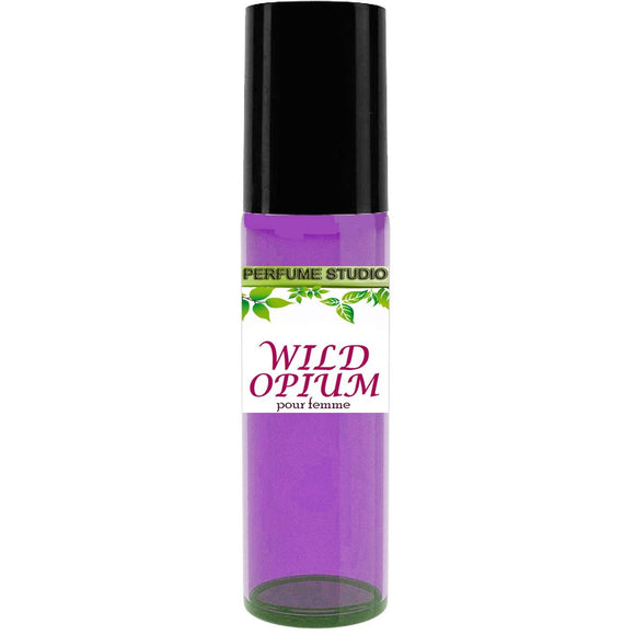 Wild Opium Pour Femme By Perfume Studio - 10ml Purple Glass Roller Bottle with Black Cap and Metal Ball Roller