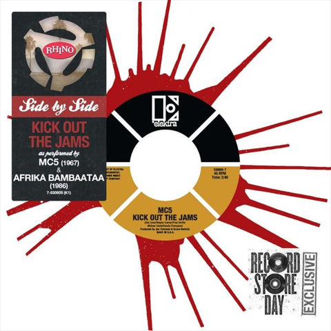 "MC5 And Afrika Bambaataa - Side By Side: Kick Out The Jams on Limited Edition Colored 7"" Vinyl - direct audio"