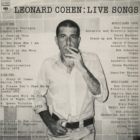 Leonard Cohen - Live Songs Vinyl LP - direct audio