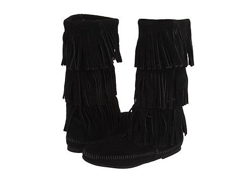 Mid-Calf Black 3-Layer Fringe Mocassin Boot