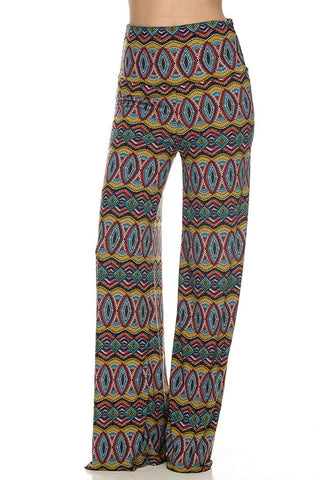 Green Geometric Print Multi Colored High Waisted Palazzo Pants