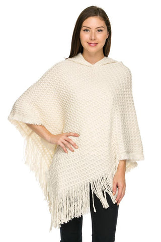 Ivory Hooded Knit Poncho
