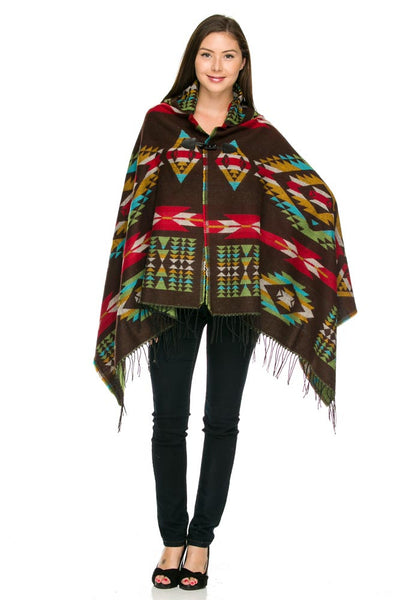 Brown Aztec Hooded Pattern Sweater Poncho