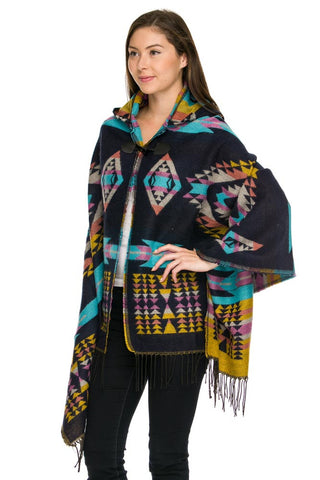 Navy Aztec Hooded Cape/Poncho