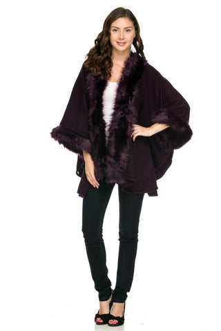 Wine Faux Fur Lined Poncho