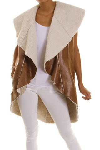 Camel Faux Leather Draped Fleece Vest