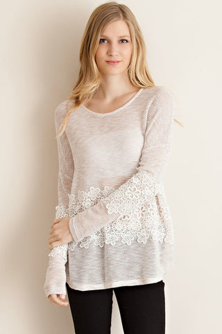Taupe Knitted Crochet Lace Detail Top