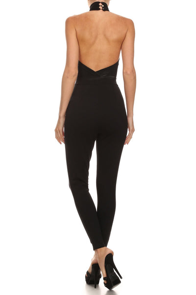 Black Sleeveless Halter Open Back Jumpsuit