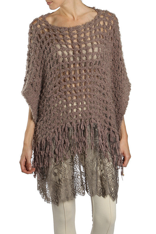 Ryu Mocha/Mauve Poncho Sweater w/ Lace Bottom