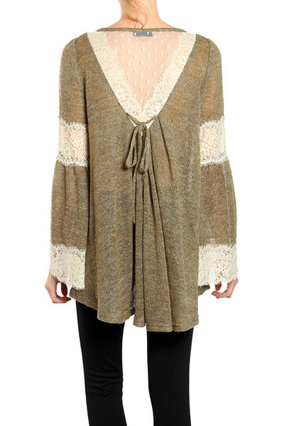 Ryu Brown Sweater w/ Lace Back and Flared Long Sleeve
